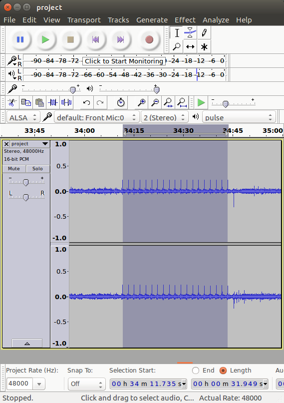 screenshot of Audacity showing a vinyl record with a skipping section selected