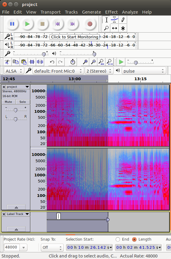 screenshot of Audacity showing a spectrogram of the boundary between two tracks, with one of the tracks selected