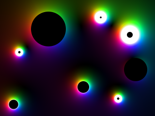 black circles of mass, surrounded by colors to indicate the gravity field